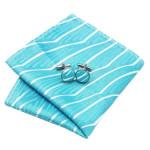 Men`s Tie Blue Novelty Jacquard Woven 100% Silk Neckties Tie+Hanky+Cufflinks Sets For Wedding Party Business