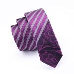 Classic Purple White Stripe Skinny Tie Slim Neckwear Casual Tie 100% Silk For Men Wedding Party Business