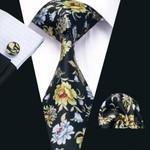 New Arrival Summer 100% Cotton Men`s Tie High Quality Printed Design Necktie Hanky Cufflink Set For Wedding Party