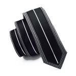 White Black Tie Silk Necktie Fix Pattern New Casual Classic Fashion For Wedding Party Business