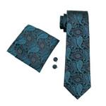 Men`s Tie 100% Silk Paisley Jacquard Woven Classic Gravata Tie+Hanky+Cufflinks Set For Formal Wedding Business Party
