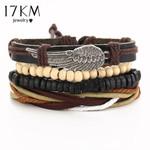Punk Wing Bracelets for Women Men Beads Wristband Cuff Leather Bracelet Ethnic Vintage