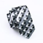 Mens Silk Tie Gray Plaid Neck Tie 100% Silk Jacquard Ties For Men Business Wedding Party