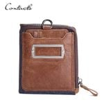 Men Wallet Cowboy Genuine Natural Crazy Horse Leather Wallets Design Multi-Card Purses With Coin Pocket