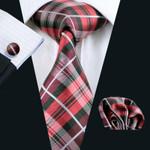 New Men`s Tie Plaid 100% Silk Jacquard Woven Gravata Tie Hanky Cufflink Set For Men Formal Wedding Party Business