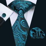LS-1045 Tie For Men Paisley 100% Silk Jacquard Woven Tie Hanky Cufflink Set For Men Formal Wedding Party Business Free Postage
