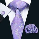 New Men`s Tie Paisley 100% Silk Jacquard Woven Tie Hanky Cufflink Set For Men Formal Wedding Party Business