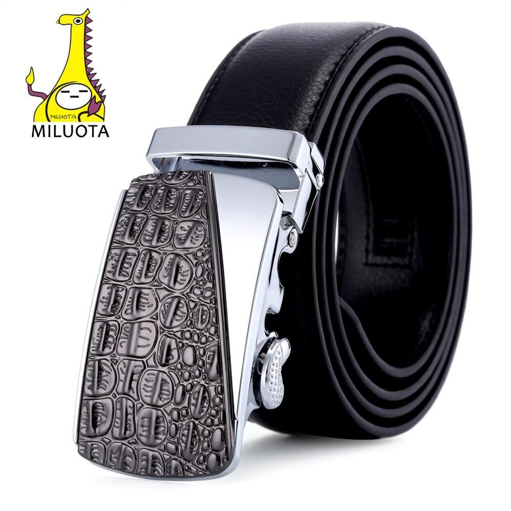 Fashion Genuine Leather Belts for Men Top Quality Metal Crocodile Pattern Automatic Buckle Strap Male Jeans