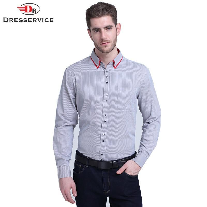 New Men's Long-sleeved Striped Shirt Men Clothing Double Collar Casual Male Business Dress Shirt