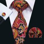 New Arrival Men`s 100% Cotton Tie High Quality Design Necktie Hanky Cufflink Set For Party Wedding