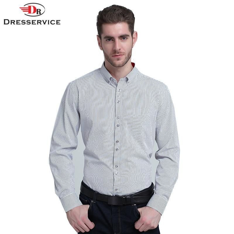 New Men's Casual Long-sleeved Striped Shirt Lapel Men Clothing Male Business Dress Shirts