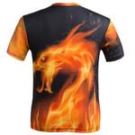 New O-neck Summer men's fire dragon 3d digital short-sleeved men's t-shirt