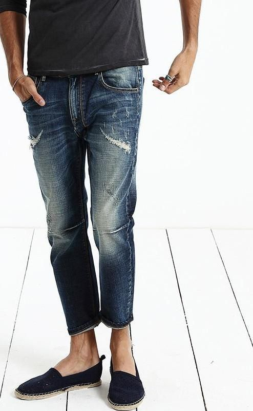 Jeans Men Fashion New Arrival Slim Fit Straight Casual Hole Long Trousers Men Pants