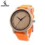 Men Design Bamboo Wood Quartz Watch Movement Inside With Soft Silicone Strap Casual Ladies watch For Gift