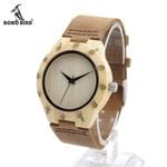 Women's Top Design Luxury Wooden Bamboo Dress Watches With Real Leather Quartz Ladies Watch in Gift Box