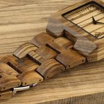 Square Zebra Wood Bamboo Men's Top Quartz Casual Watch With Leather Strap For Gift