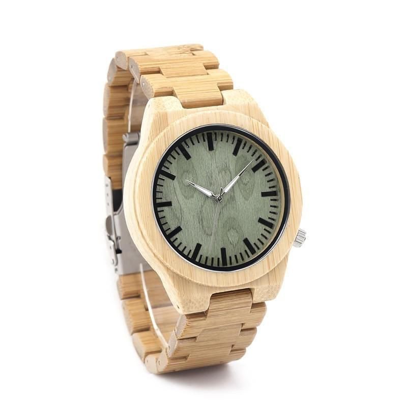 Design Creative Fashion Nature Bamboo Mens Watch Silver Pointer Bamboo Band Quartz Watches Wood Box