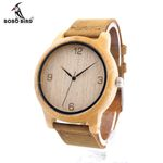 Womens Casual Antique Round Bamboo Wooden Watches With Leather Strap Lady Watches Top Luxury Wrist Watch
