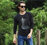 T-shirt men long sleeve lightning print casual cotton male tshirts slim elastic 3D male long sleeve T shirt