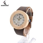 Women's Design Luxury Wooden Bamboo Watches With Real Leather Quartz Watch For Women Dress Watch