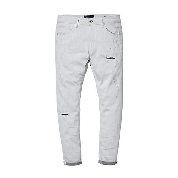 Spring New Jeans Men Slim Fit Ankle-Length Pants  Scratched Denim Trousers