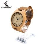 Mens Luxury Wooden Bamboo Watches With Real Leather Quartz Watch in Gift Box
