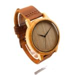 Men Design's Analog Bamboo Wood Watches Men Top luxury With Real Leather Strap For Gift