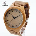 Fashion Loves' Designer Bamboo Wooden Watches Movement Analog Quartz Watches With Leather Bands