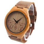 Handmade Bamboo Wooden Watch Made with Movement  in Real Brown Leather Strap For Gift