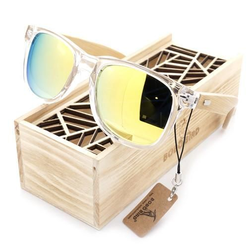 Transparent Clear Color Wood Sunglasses Women's Cheap Bamboo Polarized Sunglasses With Wood Box Protection
