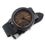Leather Fashion Bamboo Wooden Watch Movement Quartz With Genuine Cowhide Leather Band Casual Watches