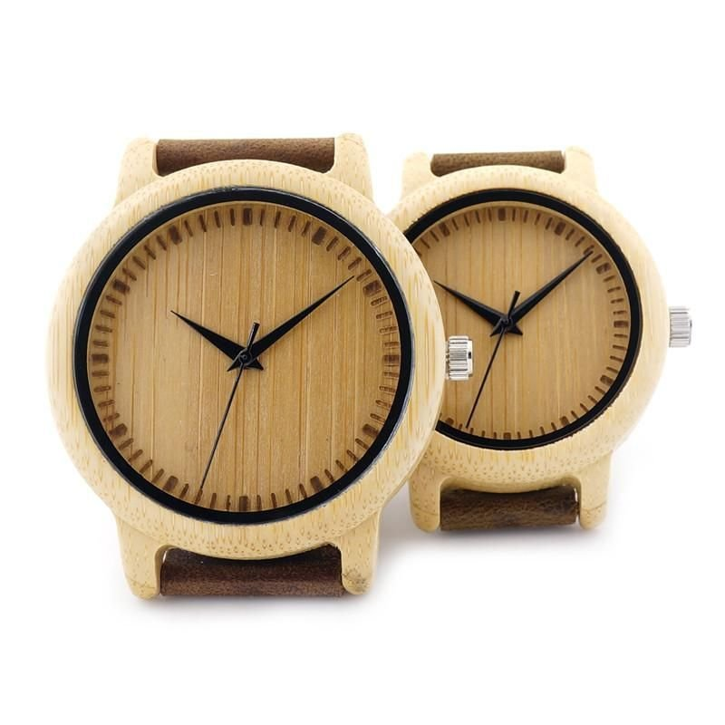 Ladies Casual Quartz Watches Natural Bamboo Watch Top Unique Watches For Couple in Gift Box