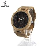Mens Wood Watch Real Leather Band Cool Visible Quartz Wooden Watches for Men Designer Wooden Watches