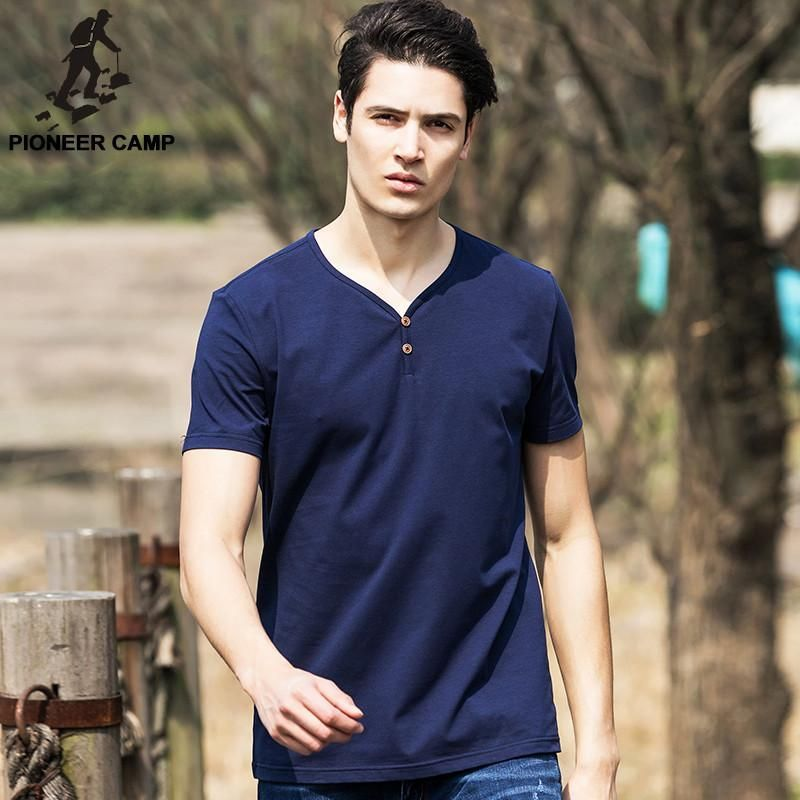 Summer Style Clothing Cotton Fitness T Shirt Men V-Neck Breathable Men T shirt Plus Size