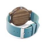 Mens Blue Leather Band Antique Wood Watches With Blue Anlaogue Display Bamboo Wooden Watches in Gift Box