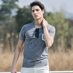 New fashion splash-ink men t-shirt Bamboo cotton summer half sleeve pocket tshirt comfortable and breathable