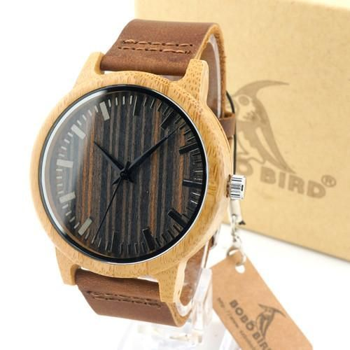 Fashion Men's White Maple Wood Watches With Genuine Leather Band Luxury Wood Watches for Men Best Gifts Item