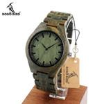 Mens Luxury Green Sandal Wood Watches Full Wooden Quartz Watch Handmade Wristwatches in Gift Box