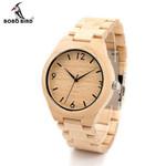 Men's Design Maple Bamboo Wood Wristwatch WIth Maple Strap Men's Quartz Watch Movement In Gift Box