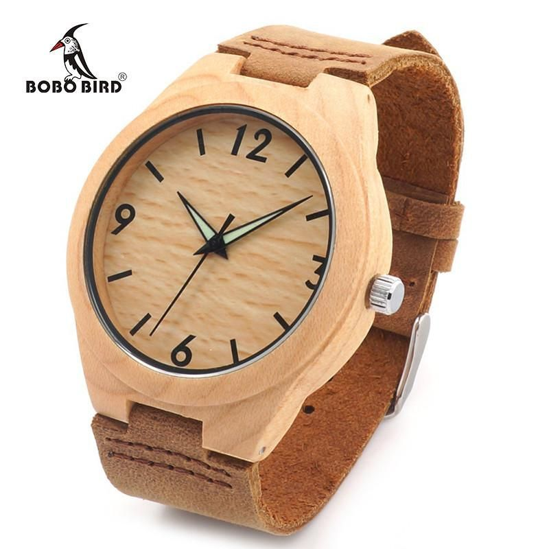 Men Minimalist Natural Bamboo Japanese Quartz Wooden Dial Genuine Leather Band Wrist Watch With Gift Box For Couples