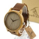 Mens Wooden Watch Plain Wood Dial Bamboo Case Quartz-watch with Leather Strap in Gift Box
