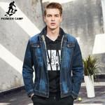 new classic denim jacket men clothing 100% cotton casual men jean jacket dark blue solid coat male