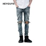 NEW fashion street mens destroyed jeans hole casual pants ankle cool green jeans joggger damage jeans rock hiphop