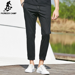 Fashion Summer Men's Pants Cotton Elastic Casual Pants Sweatpants Black Mid-waist Men Clothing