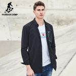 New design long shirt men clothing fashion black trench style shirt male top quality casual shirts