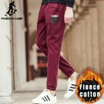 wine red casual joggers men winter autumn thick fleece trousers fashion pants quality male sweatpants