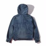 jacket men street blue Jacket Hip Hop high street Suit  Denim Jacket with hood  Men fashion Casual