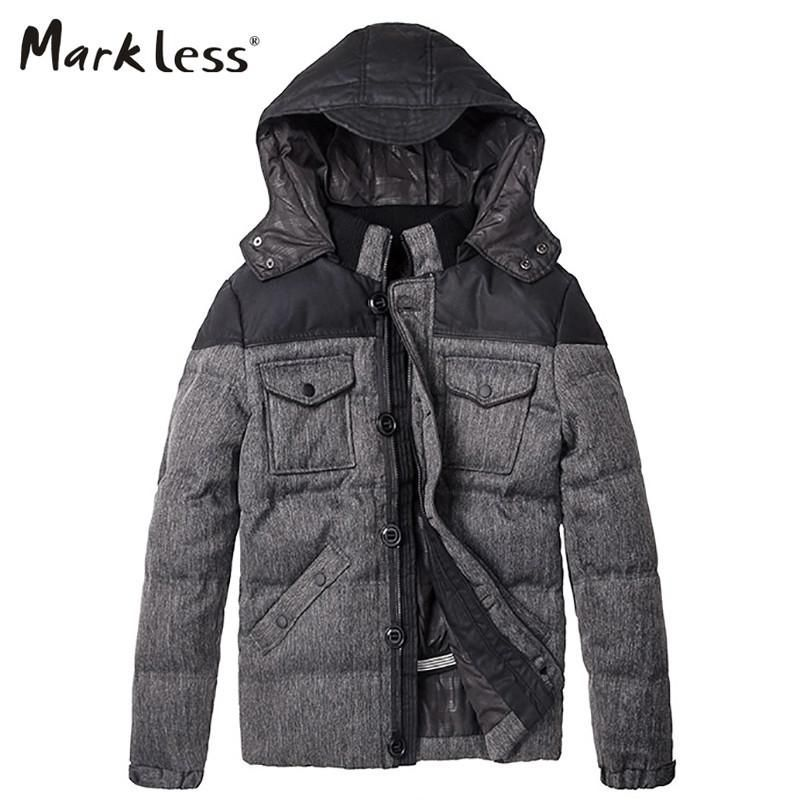 Men's Thick Down Jackets Clothing Mens Casual Spliced Hooded Man Down Coats Male Fashion Winter Outerwear