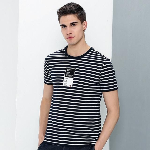 New style T shirt men clothing fashion striped T-shirt male top quality stretch casual Tshirts