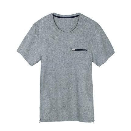 Men Round Collar T-shirts Male Short-sleeve Cotton T Shirt Summer Slim Solid Grey Casual Man Tops